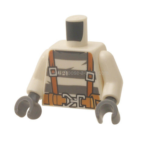 White Torso Town Prisoner Number 621, Gray Stripes, Suspenders and Belt with Pliers and Rope Pattern - White Arms - Dark Bluish Gray Hand