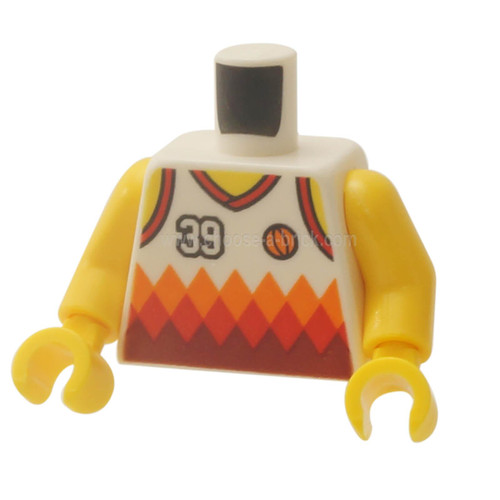 White Torso Sports Shirt with Number 39, Orange Basketball, Orange and Red Diamonds and Back Print Pattern - Yellow Arms - Yellow Hands