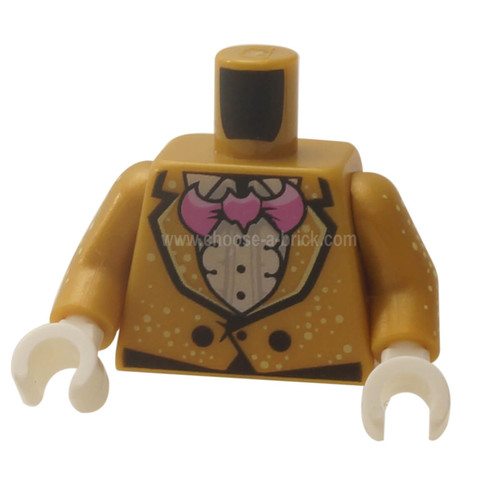 Pearl Gold Torso Jacket with White Speckles over Ruffled Shirt, Pink Bat Bow Tie, Two Black Buttons Pattern - Pearl Gold Arms with Speckles Pattern - White Hands