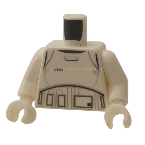 White Torso SW Armor Stormtrooper Ep. 7 with Black, Gray and Dark Gray Lines Pattern - White Arms - White Hands