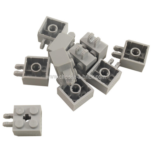 Hinge Brick 2 x 2 Locking with 2 Fingers Vertical and Cross Style Axle Hole, 7 Teeth