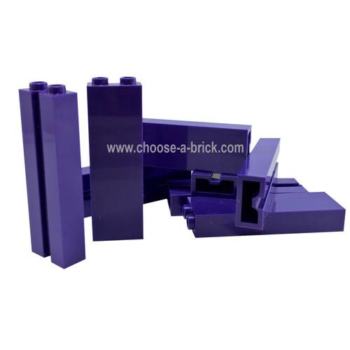 Brick, Modified 1 x 2 x 5 with Groove dark purple