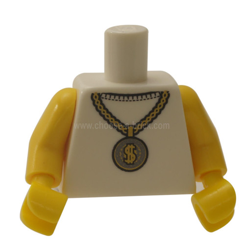 White Torso Gold Medallion with Dollar Sign Pattern - Yellow Arms - Yellow Hands