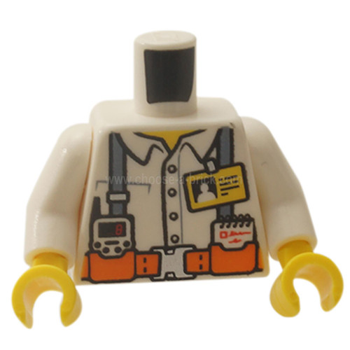 White Torso Town Miners White Shirt with Dark Gray Suspender Straps Pattern with Radio, Notebook and ID Badge - White Arms - Yellow Hands
