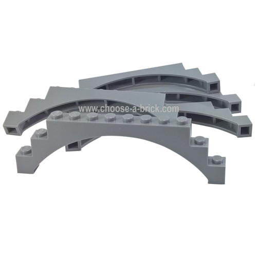 Brick, Arch 1 x 12 x 3 Raised Arch with 5 Cross Supports light bluish gray