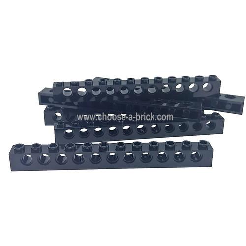 Technic, Brick 1 x 12 with Holes black