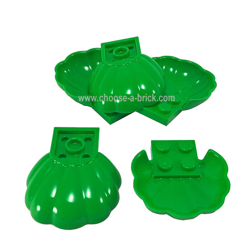 Clam / Scallop Shell with 4 Studs bright green