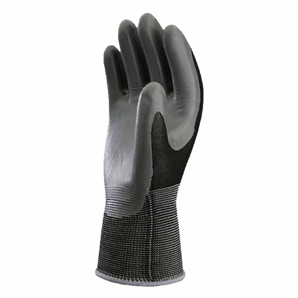 Atlas NT-370 knit-dipped nitrile gloves in black