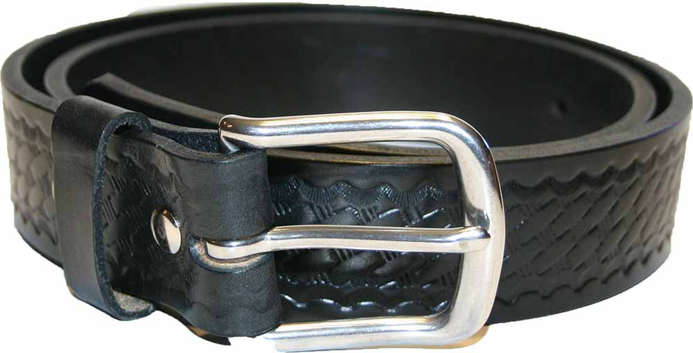 Black Amish Leather Belt with Basket Weave Pattern