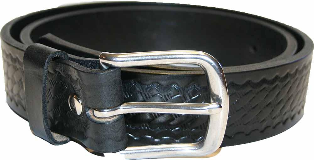 Black Amish Leather Belt with Basket Weave Pattern