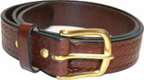 Brown Amish Leather Belt with Basket Weave Pattern