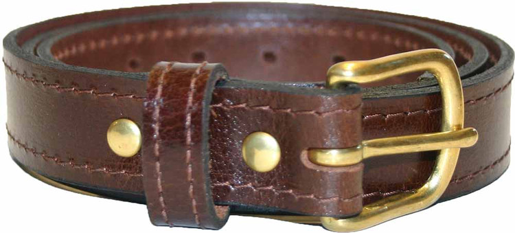 Brown Amish Dress Belt with Stitching