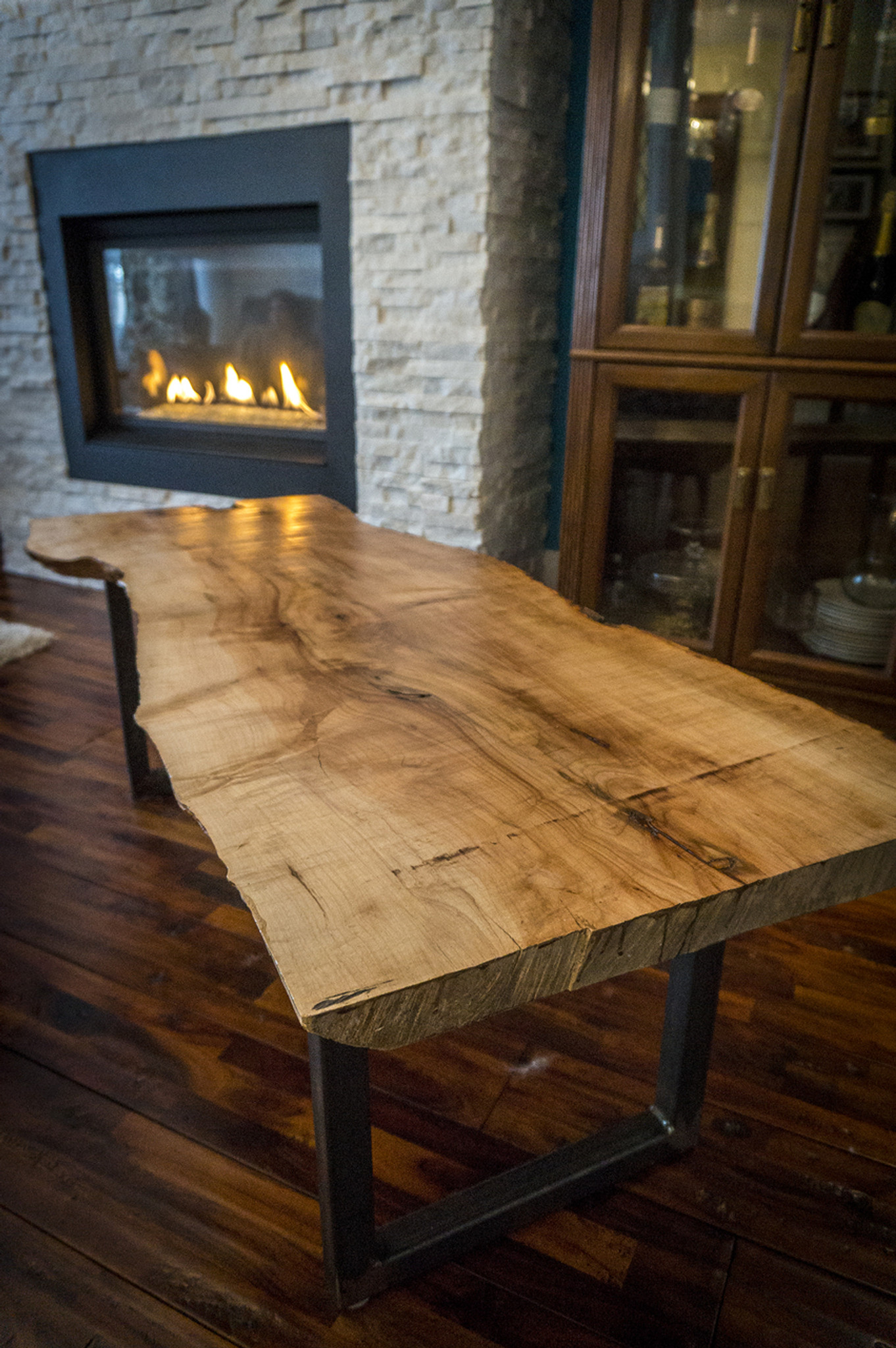Sold Reclaimed Silver Maple Slab Live Edge Coffee Table