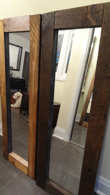 "SOLD - Two barn board mirrors measuring 20"" by 56"""