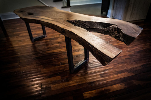 SOLD - Modern reclaimed walnut live edge slab coffee table in Toronto