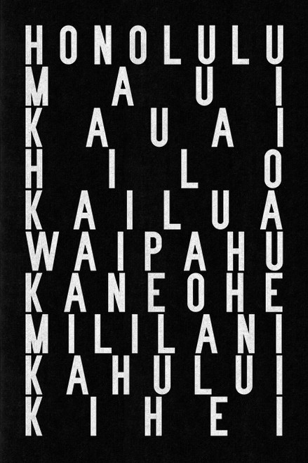 Hawaii subway sign art print or gallery-wrapped canvas! Featuring Honolulu, Maui, Kauai, Hilo, Kailua, Waipahu, Waipahu, Kihei & more
