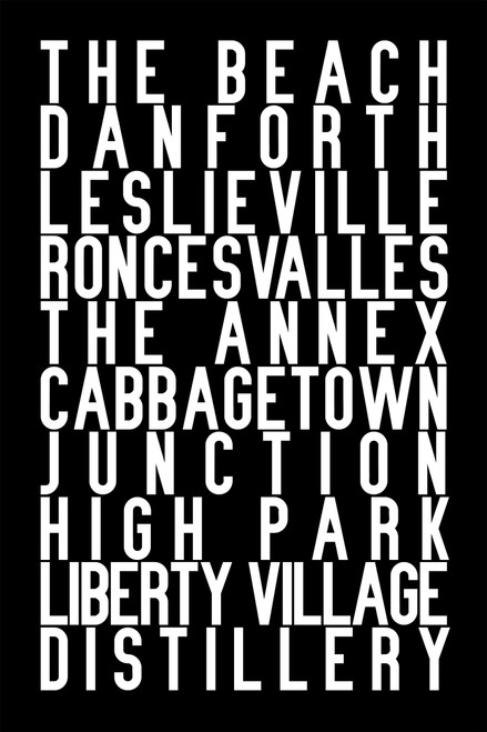 Toronto neighbourhoods print