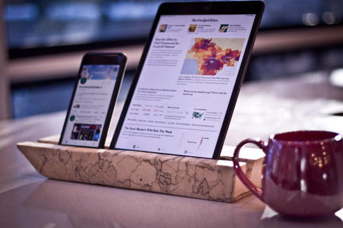 Live edge iPad/tablet stand
