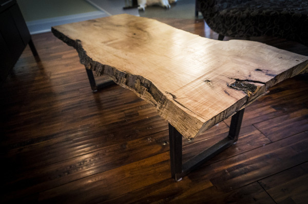 SOLD! Reclaimed silver maple slab live edge coffee table