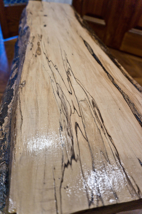 SOLD - Spalted maple live edge bench