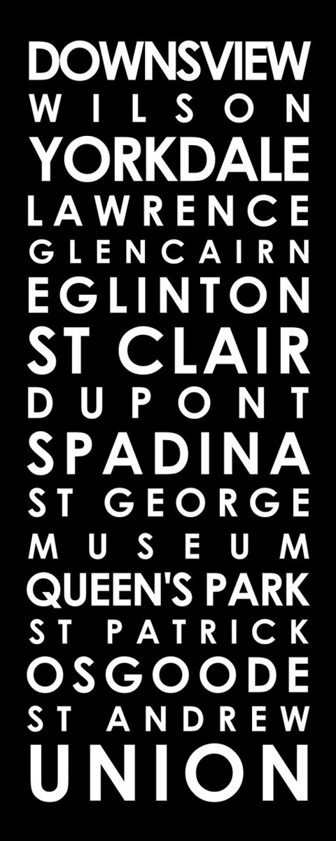 Toronto subway sign art for Toronto's TTC Spadina line