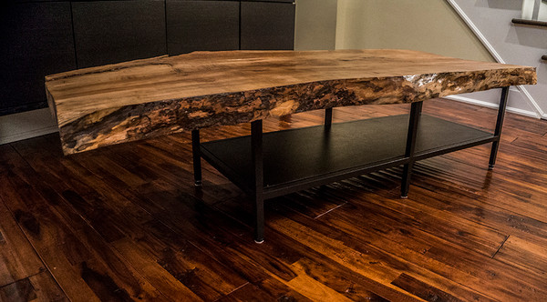 SOLD! Live edge reclaimed wood slab coffee table