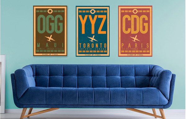 Customizable vintage airport code art
