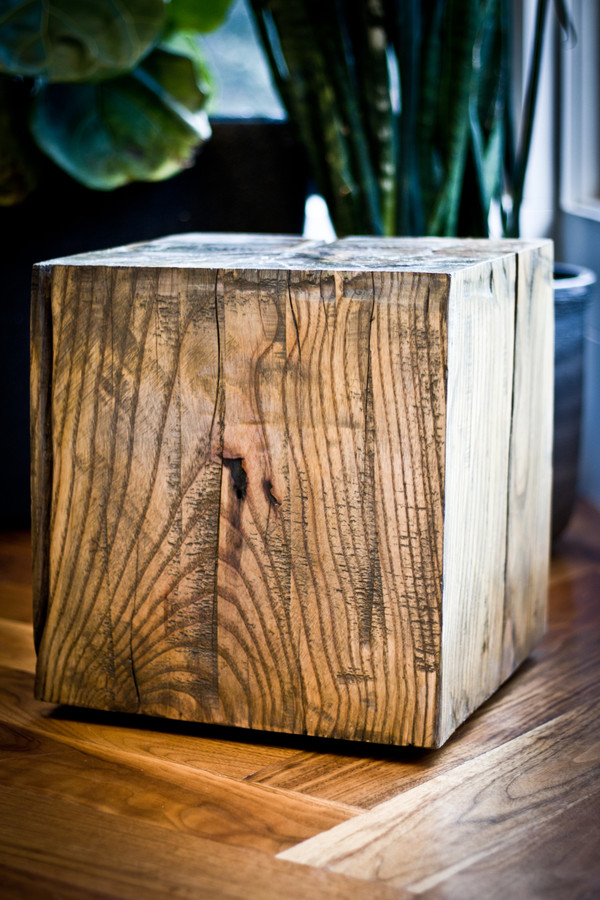 Reclaimed wood cube side table