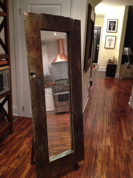 """SOLD - 22"""" by 57"""" standing reclaimed wood barnboard mirror"""