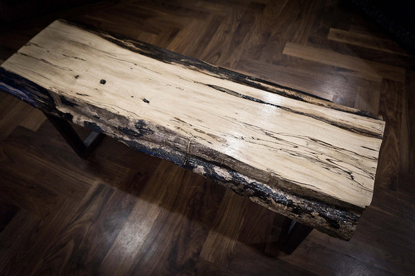 Spalted maple live edge bench