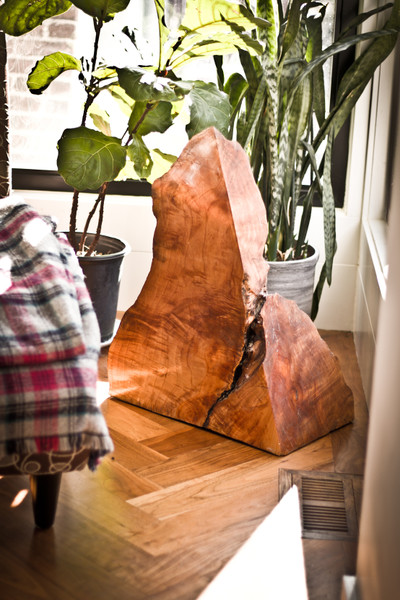 Modern wood sculpture - angular slice of tree trunk