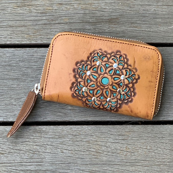 Hand Tooled Summer Mini Zip Round Wallet - Vintage Tan