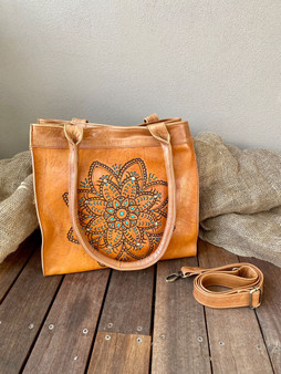 Hand Tooled Summer Tote - Vintage Tan