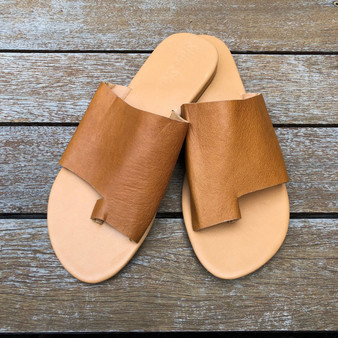 Leather Toe Slide - Camel