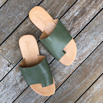 Leather Toe Slide - Olive