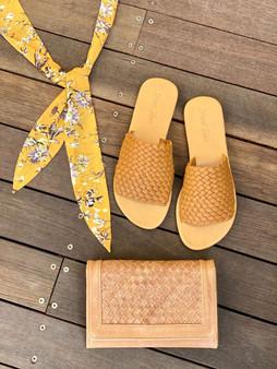 Leather Weave Slide - Camel