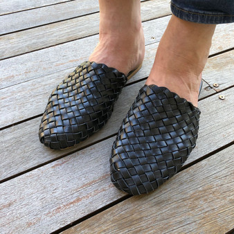 Leather Woven Loafer Slide - Black