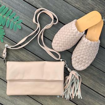 Leather Woven Loafer Slide - Blush