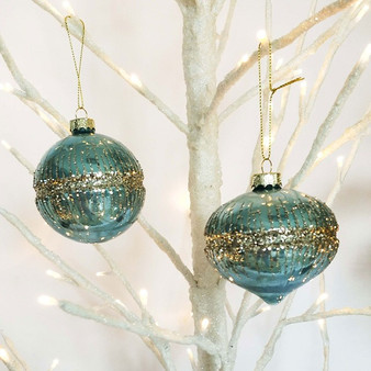 Glitter Band Hanging Bauble Blue 8cm