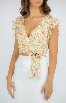 Floral Frill Top with tie waist