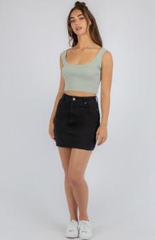 Fitted Denim Skirt with Frayed hem