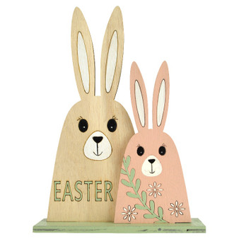 Wooden Bunny Duo 16x22cm-White/Pink