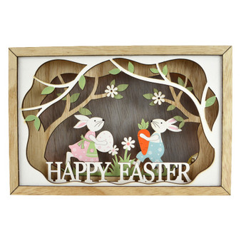 Wooden Led Easter Box Scene 22.5x15cm