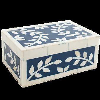 Bone Inlay Box - Classic Blue -medium size