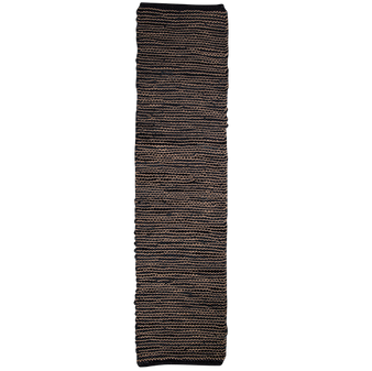 Leather & Jute Table Runner - Charcoal