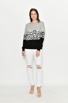 2 Colour with Animal Print Panel Knit Jumper - Grey