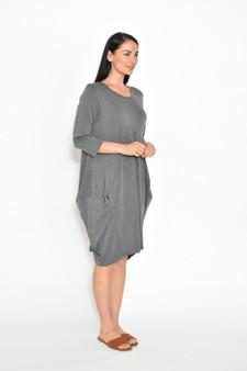 3/4 SL Cocoon Jersey Dress - Grey