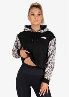 Ladies Hoodie Crop Wildout - Leopard