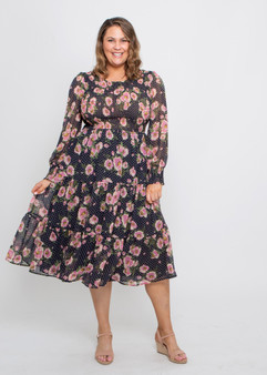 Caily Dress Navy Pink Floral