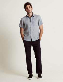 Linen SS Shirt - Blue Chambray